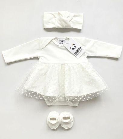 Нарядное платье-боди 68 размер, костюм снежинки