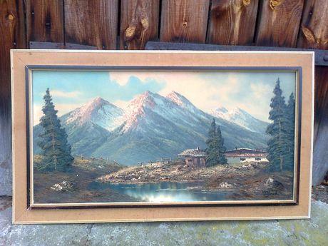 stary obraz duzy recznie malowany na plotnie przepiekny starocie