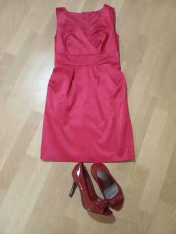 Платья  жен.атлас ,красное платье футляр,геометрический принт