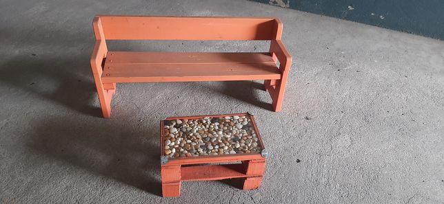 Mesa paletes e banco madeira