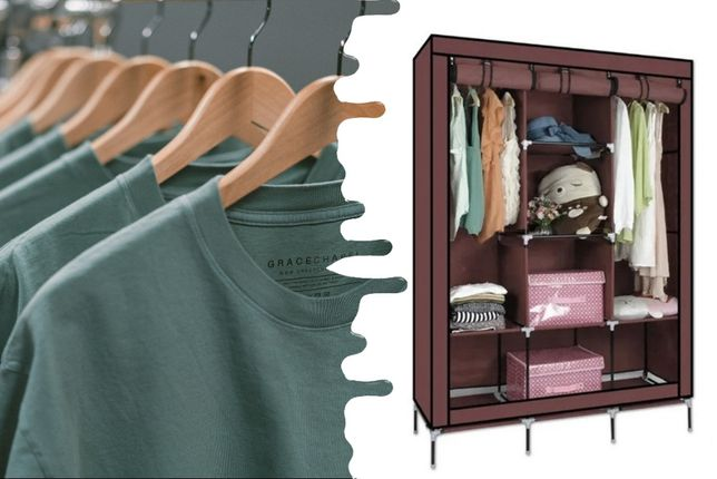 Складной каркасный тканевый шкаф Wardrobe на три секции портативный