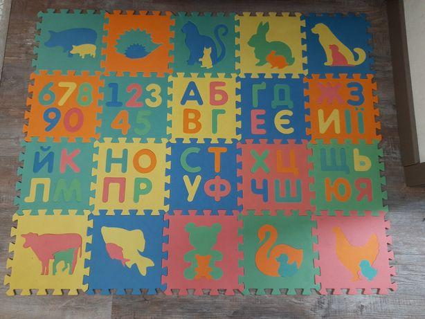 Игровой детский коврик EVA коврик-пазл 20 животные цифры алфавит буквы