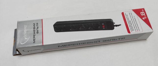 Мережевий фільтр-подовжувач Gembird SPG5-G-6B на 5 розеток