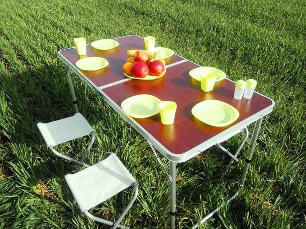 Складной стол чемодан для пикника 4 стула 3 уровня