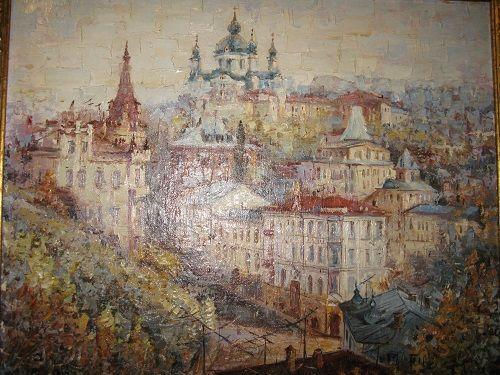 Городской пейзаж Киев вид на Софиевский собор со стороны Прорезной и В