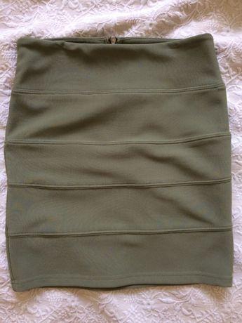 Spódniczka bandażowa, krótka, obcisła, zielona, rozm. XS, EU 34