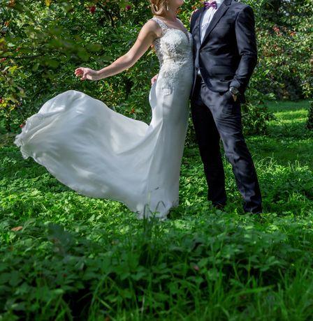 Suknia slubna weselna LILLIAN WEST 6454 rybka odkryte plecy tren