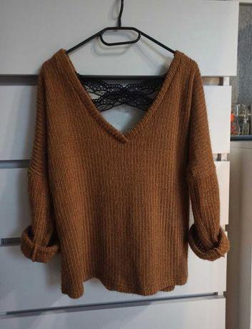 Sweterek brązowy koronkowy rozmiar uniwersalny
