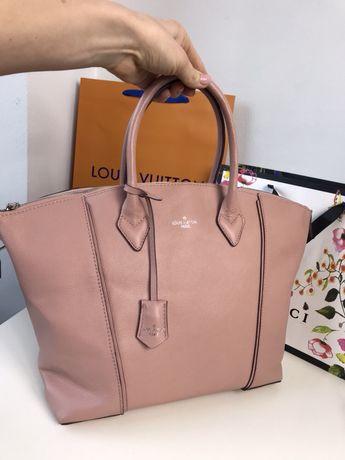 Louis Vuitton duża torebka skóra naturalna brudny róż