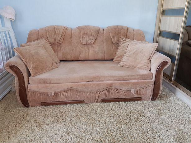 Диван + 2 великих крісла і пуфик, м'ягка частина, диван с креслами