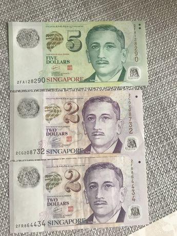Купюры сингапур номиналом  2, 5