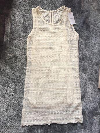 Nowa sukienka Mango 34 XS koronkowa biała