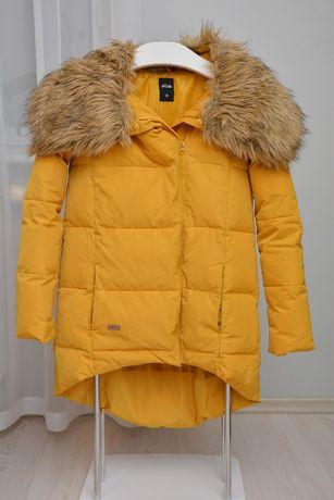 Zółta damska kurtka z kapturem futerko marki Diverse rozmiar XS