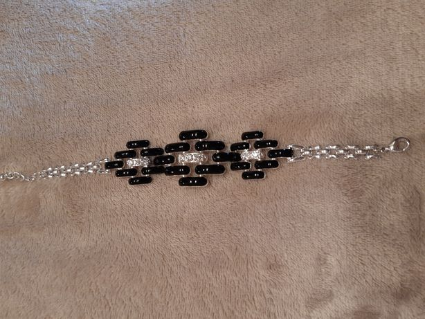 Bransoletka czarno-srebrna