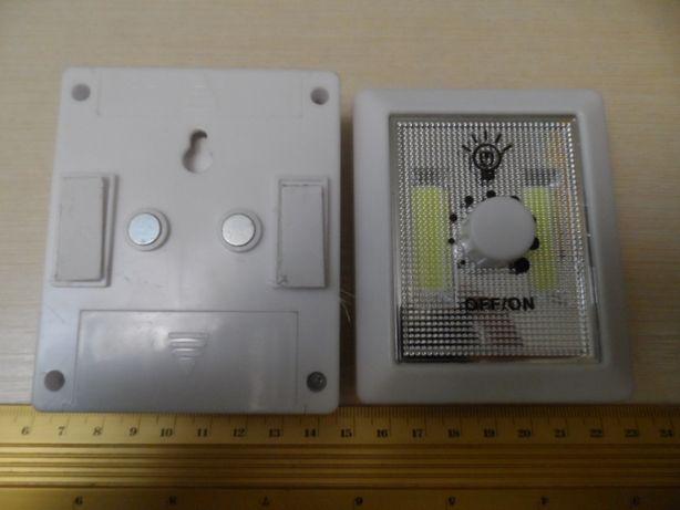 Фонарик-выключатель LED на батарейках, 8,7 х 7,2 см, с регулятором