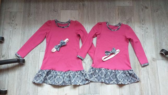 Sukienki dla bliźniaczek 122/128