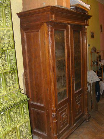 Книжный шкаф, конец 19-го века, орех, сосна, шпон, резьба.
