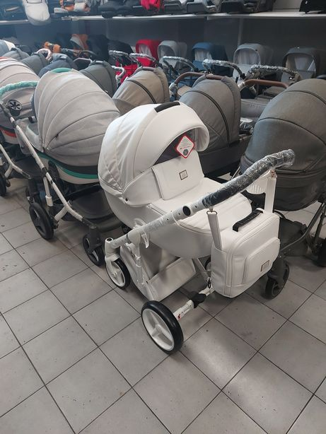 Wózek Adamex Luciano Biała Ekoskóra 2w1, 3w1, 4w1