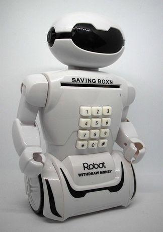 Робот сейф копилка с кодовым замком купюроприёмником LED лампа