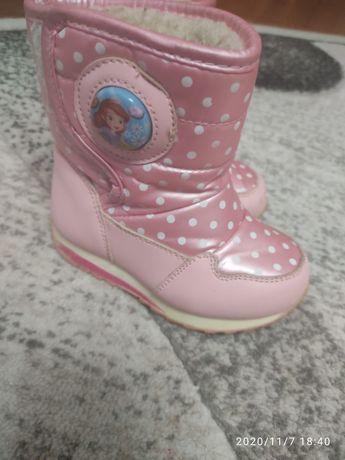 Сапожки, чобітки, черевики для дівчинки рожеві 22 розміру зима