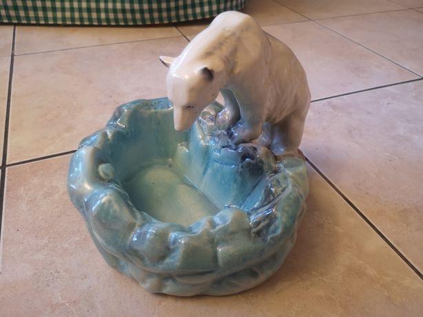 Ceramiczna patera z niedźwiedziem polarnym Art Deco