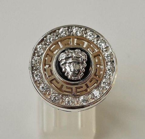 Срібне кольцо Versace з золотими вставками