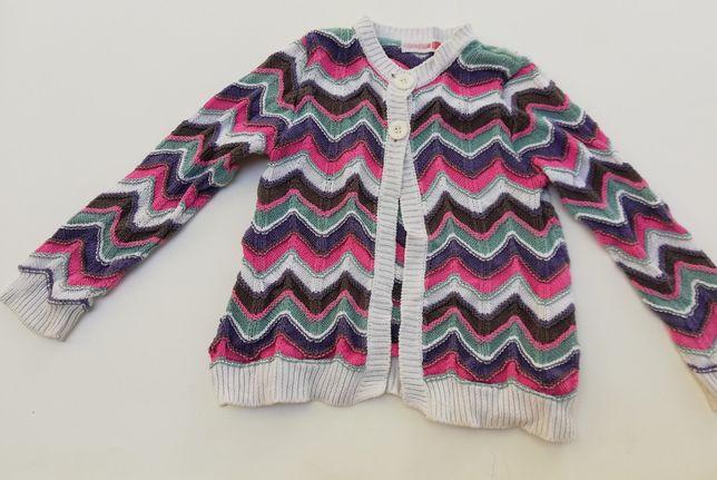 Śliczny kolorowy sweterek COOL CLUB Smyk - rozmiar 110 cm na 4-5 lat.