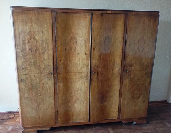 Szafa 4-drzwiowa, antyk, PRL, drewno
