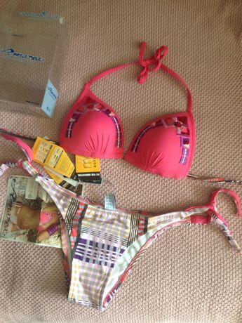 Новый розовый купальник бикини с вышивкой и пайетками, Amarea Италия
