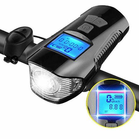 Велофара велокомпьютер фара велосипедная звонок 3 в 1 micro USB