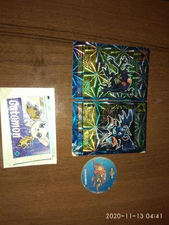Карточки кепсы дигимон digimon + вкладыш наклейки