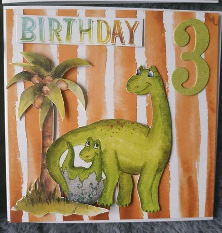 Kartka ręcznie robiona urodziny urodzinowa dla dziecka dinozaury