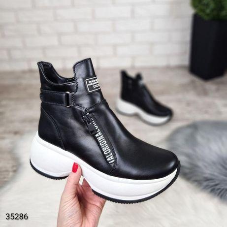Женские ботинки из натуральной кожи на меху