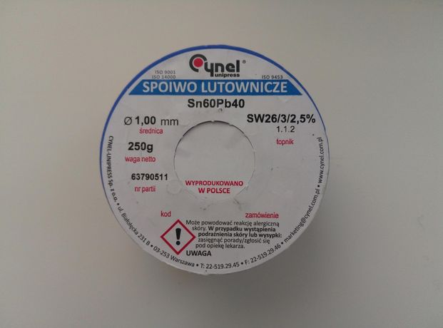 Припой с флюсом Cynel Sn60Pb40 1 мм 250 гр