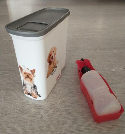 Pojemnik na suchą karmę oraz butelka dla psa