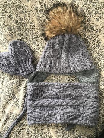 Набор зимний, шапка с большим пампоном