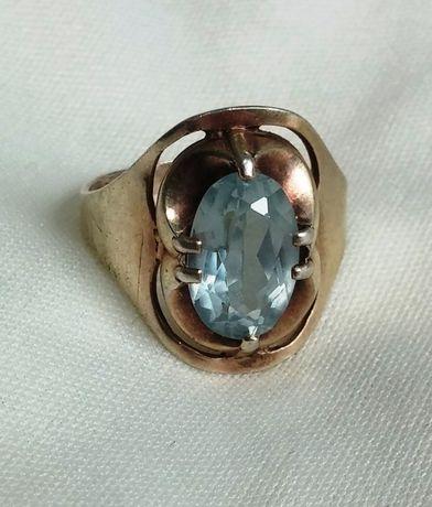Колечко кольцо с камнем топаз серебро винтажное 875 проба СССР