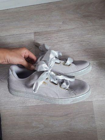 40 Puma Suede Heart szare buty kokardy kokardki satynowe zamszowe