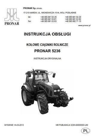 Instrukcja obsługi ciągnika Pronar 5236