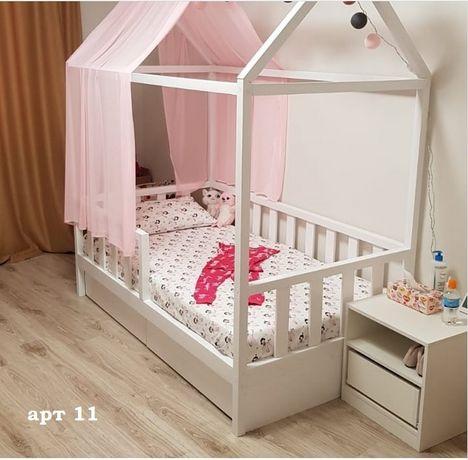 Кровать домик детская массив ольхи.Детская кровать деревянная.Дом
