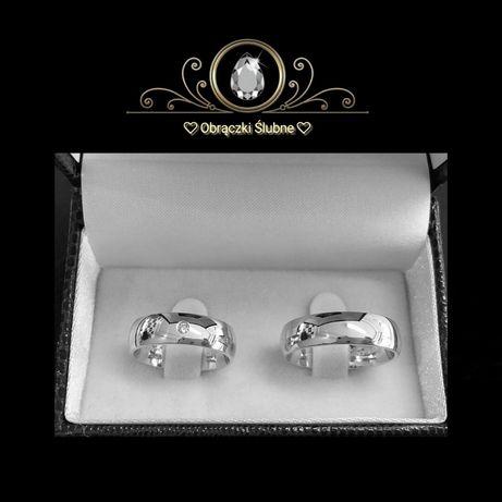 Śliczna Para Srebrnych Obrączek Ślubnych