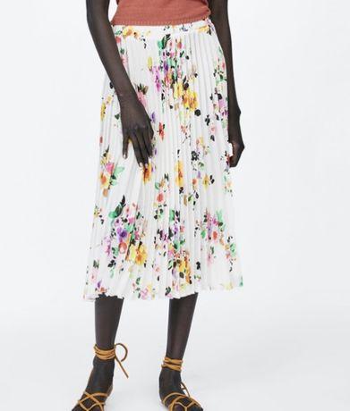 Zara spodnica nowa plisowana xs s m biala kwiaty midi maxi