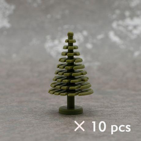 Klocki Choinki Kolor Oliwny Drzewa Rośliny Krzaki 10 szt NOWE