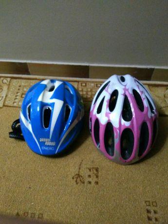 2 dziecięce kaski na rower