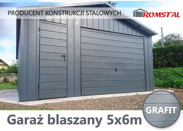 Garaż blaszany 6x5 w kolorze Grafit , garaże blaszane ,blaszaki ,wiaty