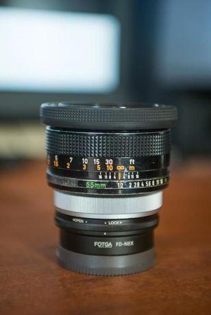 Objectiva Canon FD 55mm f/ 1.2 + adaptador FD-NEX