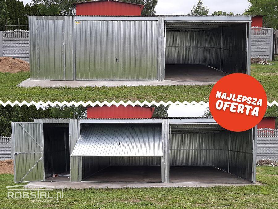 Garaż blaszany ocynkowany I GATUNEK blaszak 7,5x5 bramy uchylne+drzwi Nysa - image 1