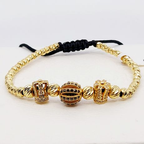 Złota bransoletka na sznurku próba 585 waga 5.9 gr