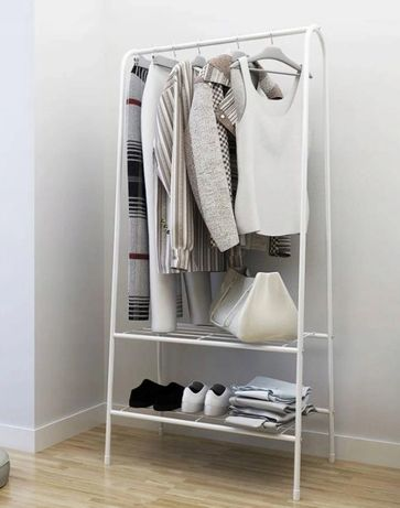 STOJAK wieszak na ubrania buty półki garderoba BIAŁY