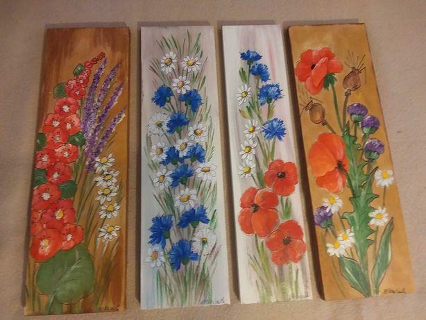 Kwiaty na desce, obrazy ręcznie malowane